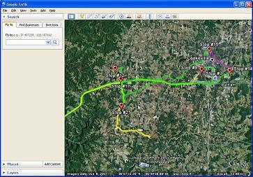 iTrail GPS tracker plots to Google Earth