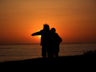 Old couple sunset